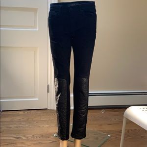 """NWOT Joe's """"the skinny"""" black leather patch  jeans"""